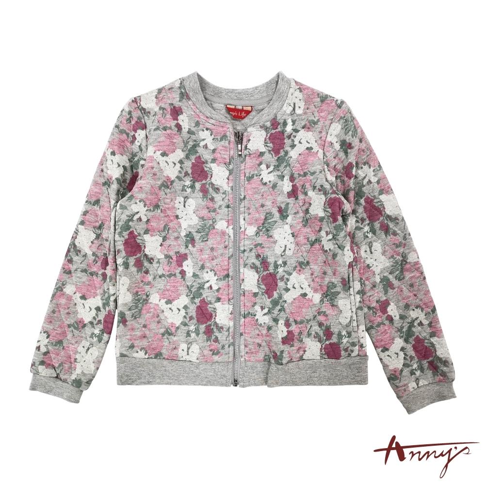 Annys安妮公主-莊園花卉秋冬款拉鍊棒球外套*7410灰色