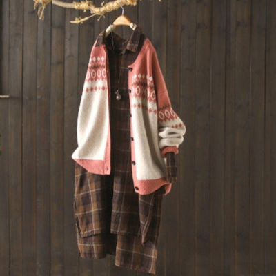 提花圓領針織開衫寬鬆大碼洋氣長袖毛衣外套-設計所在