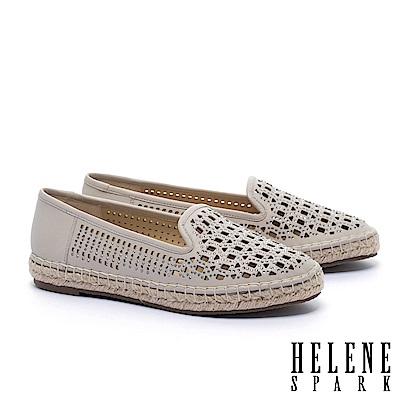 休閒鞋 HELENE SPARK 時尚造型沖孔晶鑽全真皮草編厚底休閒鞋-可可