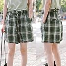 短褲-色織純亞麻綠色格子寬鬆休閒寬管-設計所在