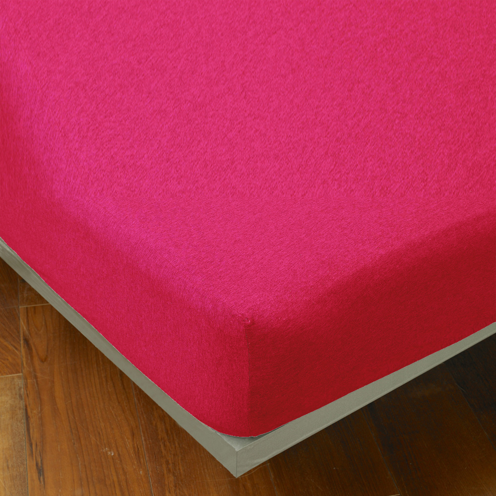 Yvonne Collection 雙人素面床包-莓紅