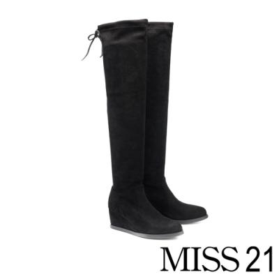 過膝靴 MISS 21 舒適時尚後綁帶楔型高跟過膝靴-黑