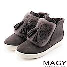 MAGY 街頭時尚 毛海流蘇內增高高筒休閒鞋-灰色