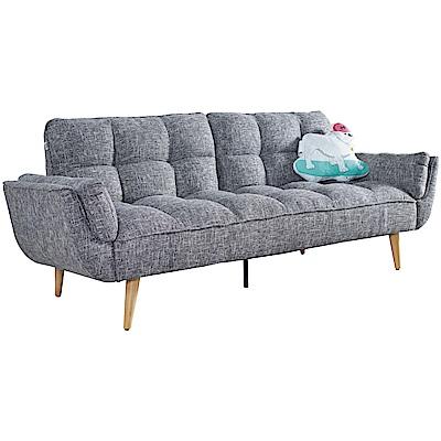 文創集 雷布斯北歐灰亞麻布沙發/沙發床(展開式機能設計)-228x94x90cm免組