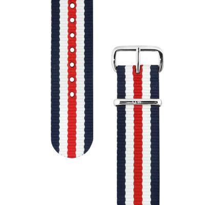 DW Daniel Wellington 銀扣尼龍錶帶-藍x白x紅/20mm
