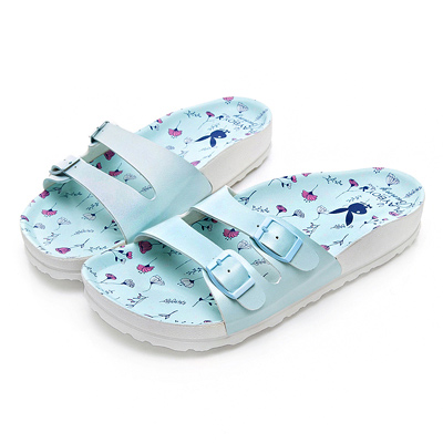 PLAYBOY 粉嫩浪漫雙帶休閒拖鞋-藍