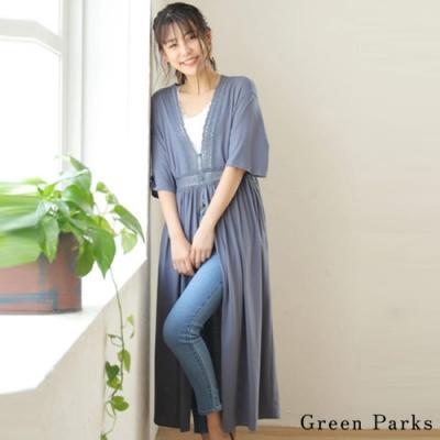 Green Parks  開襟蕾絲拼接設計長版罩衫