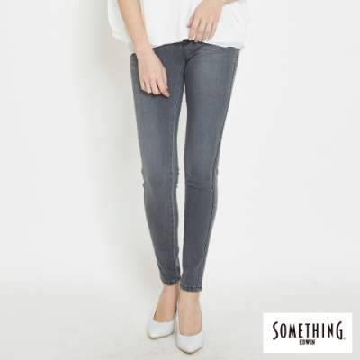 SOMETHING LADIVA 經典刷色伸縮窄直筒褲-女-灰色