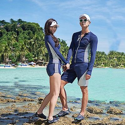 Biki比基尼妮泳衣   清藍三件式情侶泳衣比基尼(女M-XL)