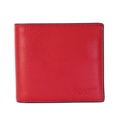 COACH紅色荔枝紋全皮八卡雙摺對開男夾