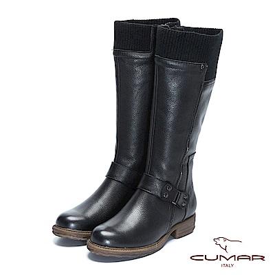 CUMAR-率性柔美-中性風異材質拼接拉鍊裝飾長靴
