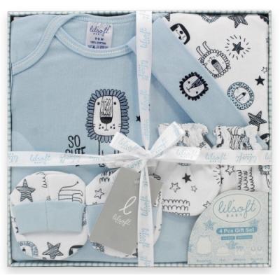 美國Elegant kids-藍色小獅子4件式彌月禮盒