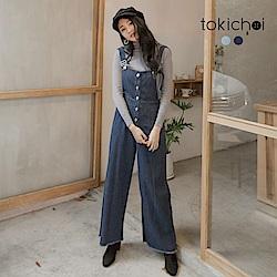 東京著衣 活力洋溢腰鬆緊排釦吊帶牛仔寬褲-S.M.L(共二色)