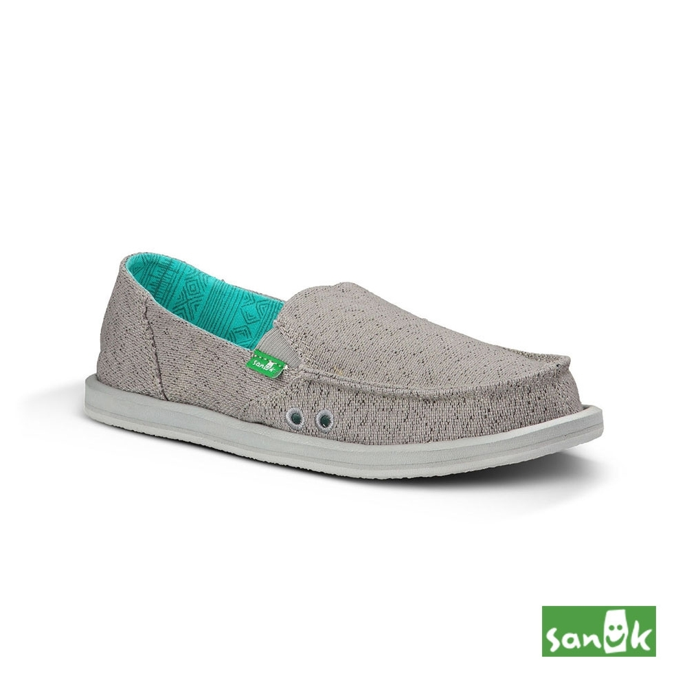SANUK 女款US6 素面內民俗圖騰懶人鞋(灰色)