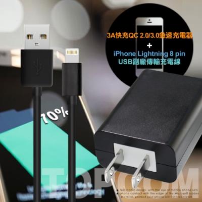 TOPCOM 3A QC 3.0 急速充電器+iPhone/iPad充電傳輸線-1米-黑色