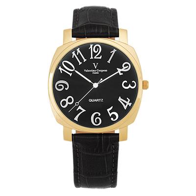 Valentino Coupeau 范倫鐵諾 古柏 萊茵香頌腕錶 金色殼 黑面 黑皮帶
