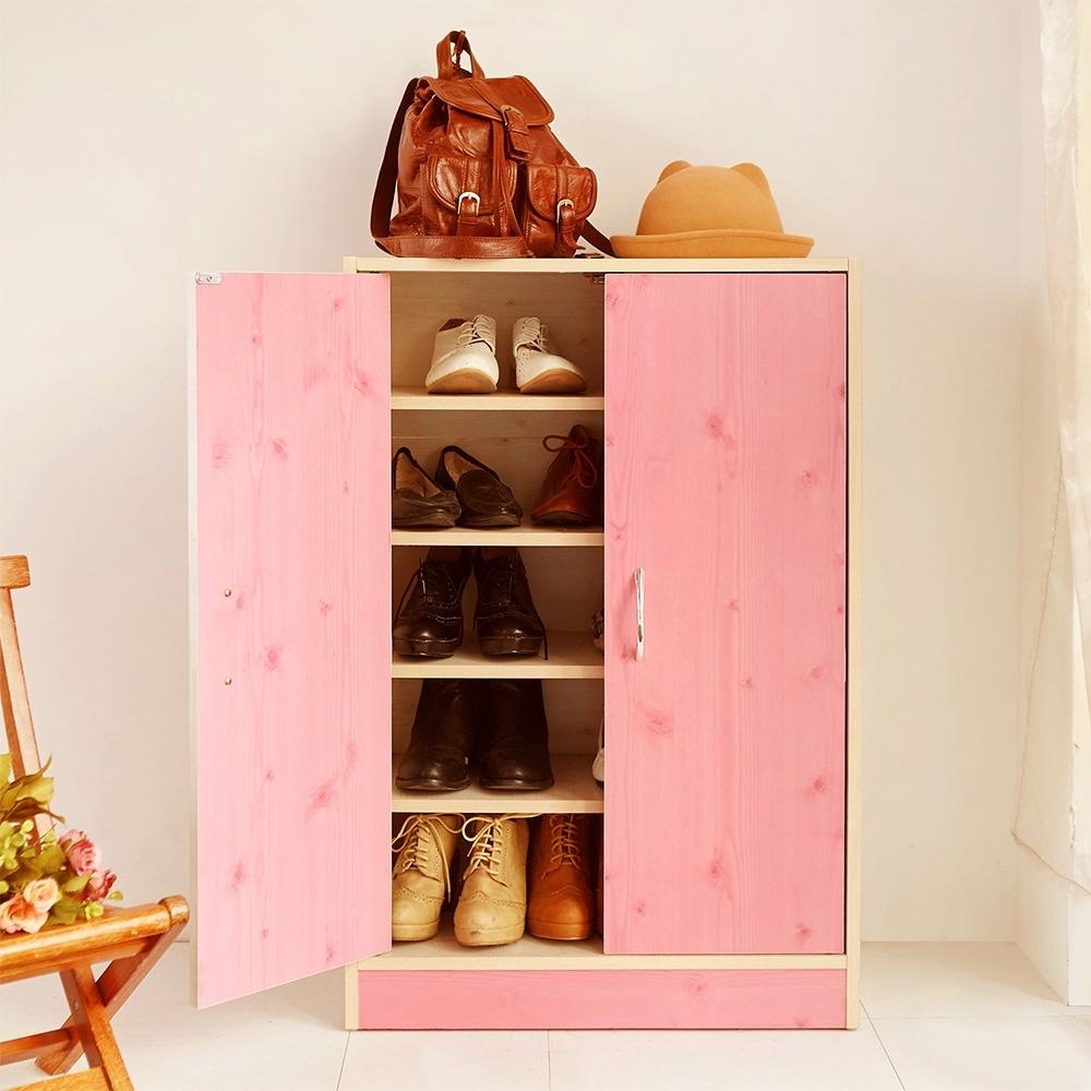 澄境 鄉村風木紋雙門五層收納鞋櫃60x30x90cm-DIY
