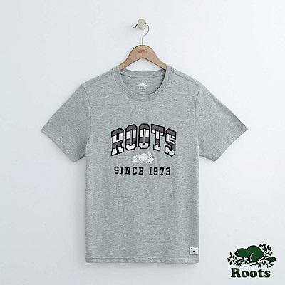 男裝Roots 拱形雙色LOGO短袖T恤-灰