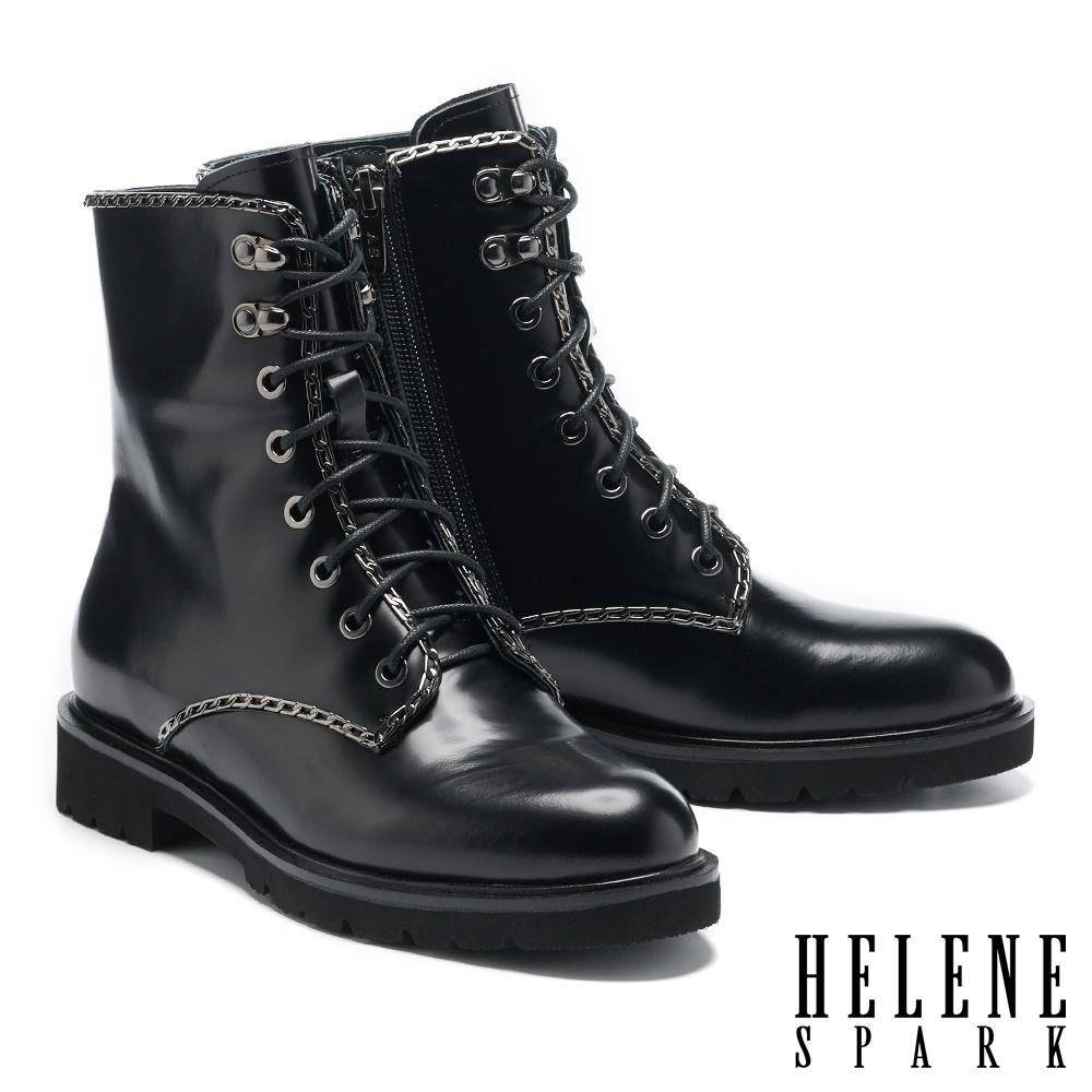 短靴 HELENE SPARK 率性時髦鍊條開邊珠軟牛皮綁帶短靴-黑