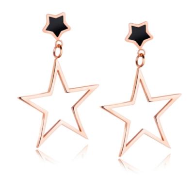 I-Shine-西德鋼-五角星情-時尚垂墜星星玫瑰金鈦鋼耳環DA23