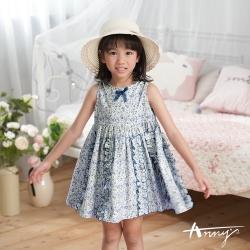 Annys安妮公主-中小童夏日花田純棉舒適荷葉邊無袖洋裝*0304藍