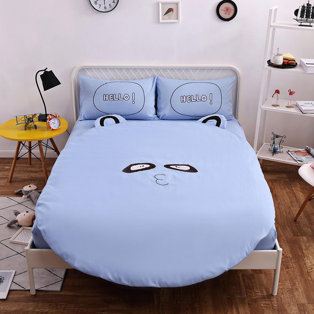 HUEI生活提案 柔絲絨圓形被套床包五件組 加大含被芯 狸貓藍