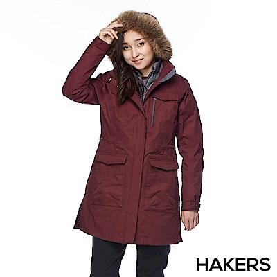 【HAKERS 哈克士】女款 三合一防水羽絨外套(酒紅)