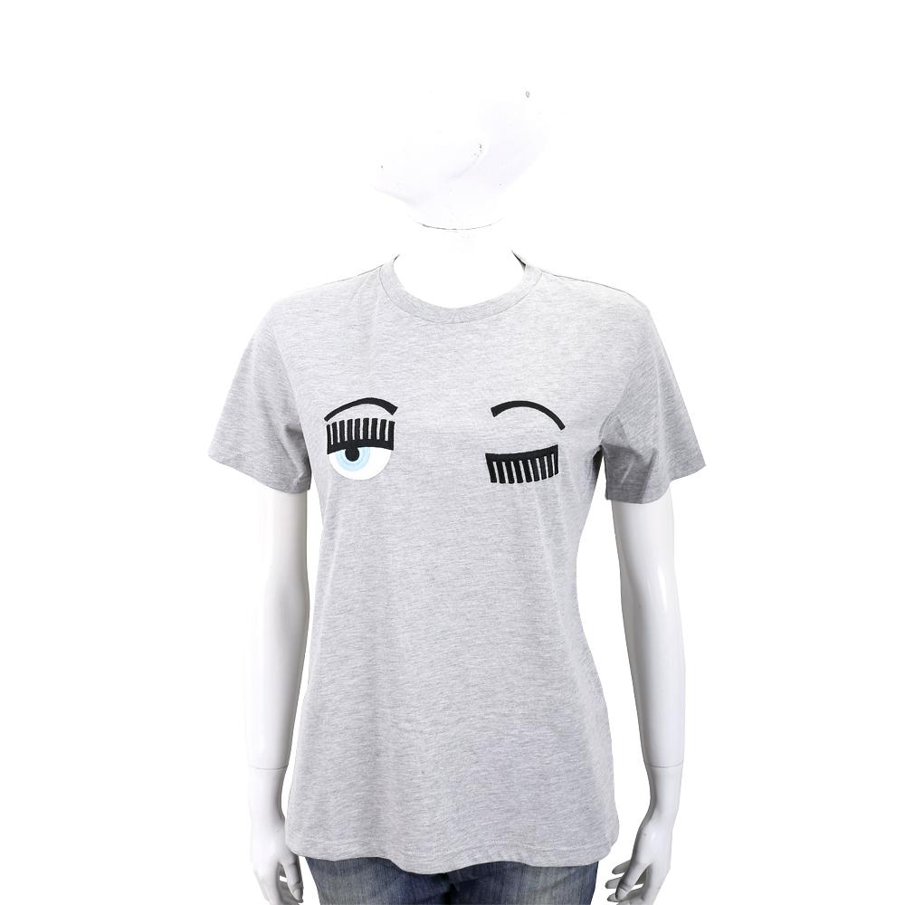 Chiara Ferragni Flirting 刺繡眨眼灰色棉質短T恤