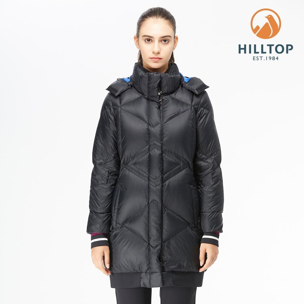 【hilltop山頂鳥】女款超撥水長版蓄熱羽絨外套F24FE7黑美人