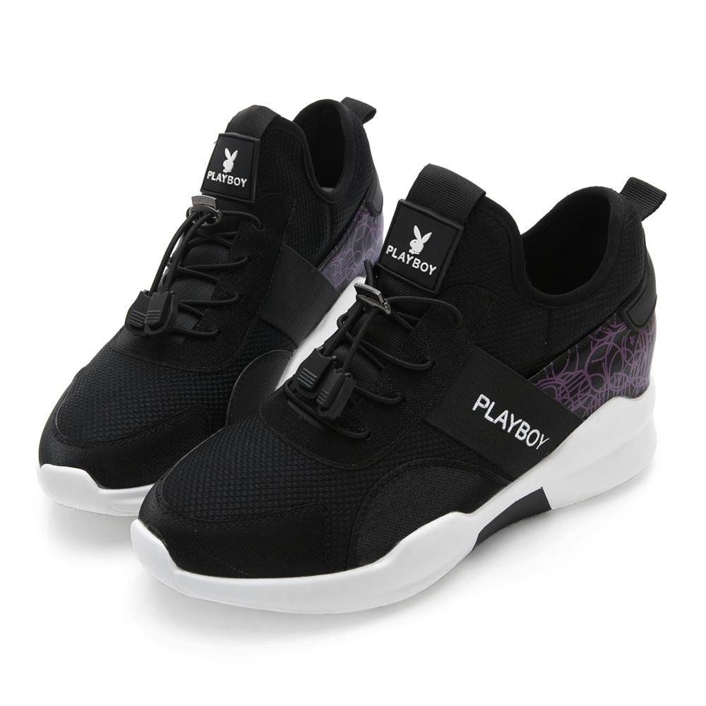 PLAYBOY 率性潮品 幾何線條拼接休閒鞋-黑紫