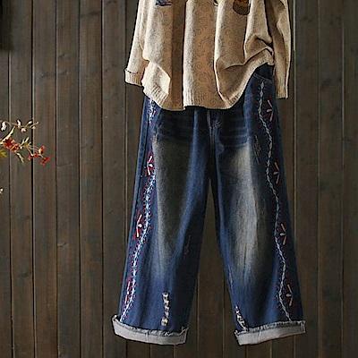 做舊牛仔寬鬆刺繡毛邊破洞九分-K1799-設計所在