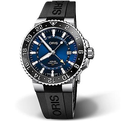 Oris豪利時AQUIS GMT雙時區陶瓷圈潛水錶-43.5mm(橡膠/藍)