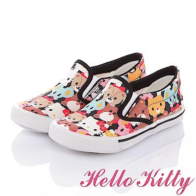 HelloKitty 好朋友系列 百搭舒適減壓帆布懶人童鞋-黑