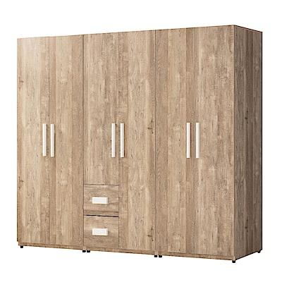 文創集 卡亞迪7.3尺衣櫃(吊衣桿+抽屜+開放層格)-228x56.5x197cm免組
