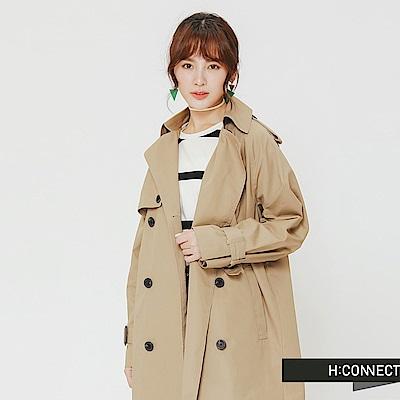 H:CONNECT 韓國品牌 女裝-翻領造型雙排釦風衣外套-卡其