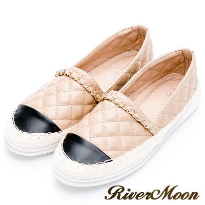River&Moon懶人鞋-小香菱格金鍊條麻編豆豆鞋-杏