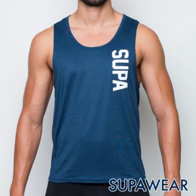 SUPAWEAR 反光標識快乾透氣健身慢跑運動背心(海藍色)