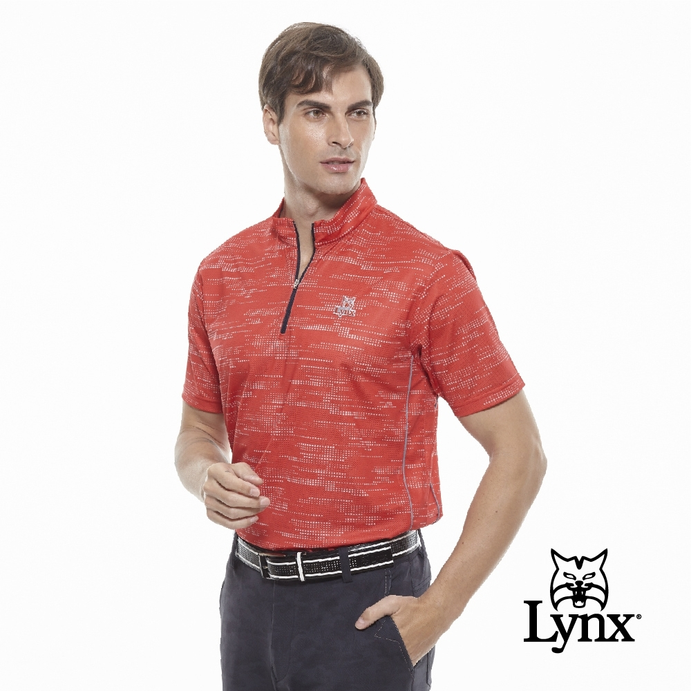 【Lynx Golf】男款冰涼舒適Mesh點點印花短袖POLO衫-紅色