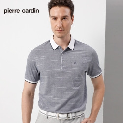 Pierre Cardin皮爾卡登 男裝 雙色緹花短袖polo衫-灰色(5197277-95)