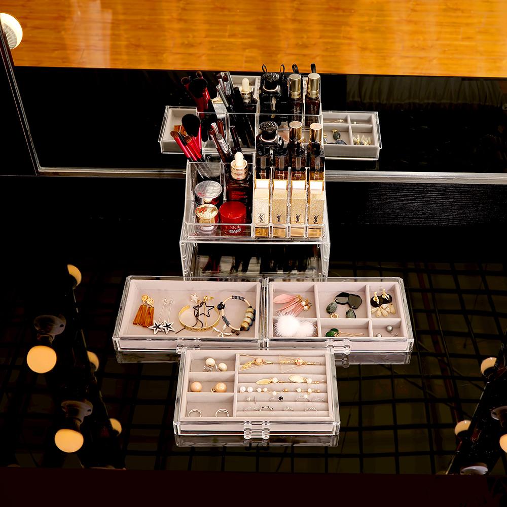 【Mr.box】透明壓克力首飾化妝品收納盒(絨布)