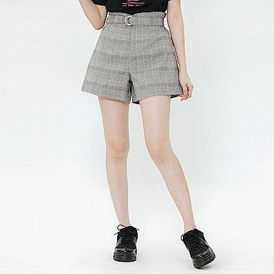 H:CONNECT 韓國品牌 女裝-知性格紋腰帶短褲-灰
