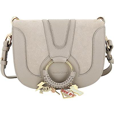 SEE BY CHLOE HANA 小款編織金屬圈拼接麂皮手拿/肩背包(卡其灰) @ Y!購物