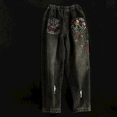 刺繡牛仔破洞褲哈倫長褲-K1832-設計所在