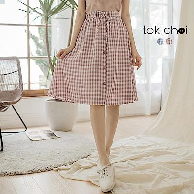 東京著衣 甜心必備格子假鈕扣綁帶短裙-S.M(共二色)