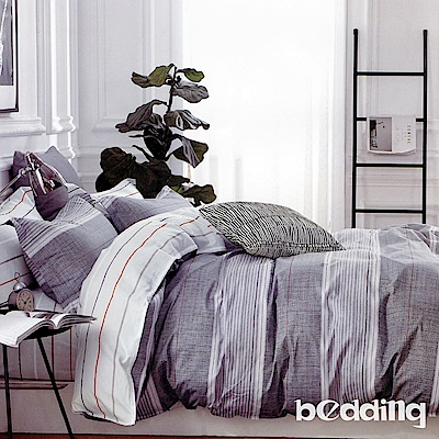BEDDING-100%棉特大雙人6x7尺薄式床包-軒尼之境-灰