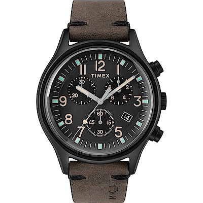 TIMEX 天美時 MK1 Chrono系列 三眼計時潮流軍錶-黑x深咖啡-42mm