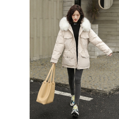 2F韓衣-韓系大毛領口袋造型防風鋪棉大衣-秒