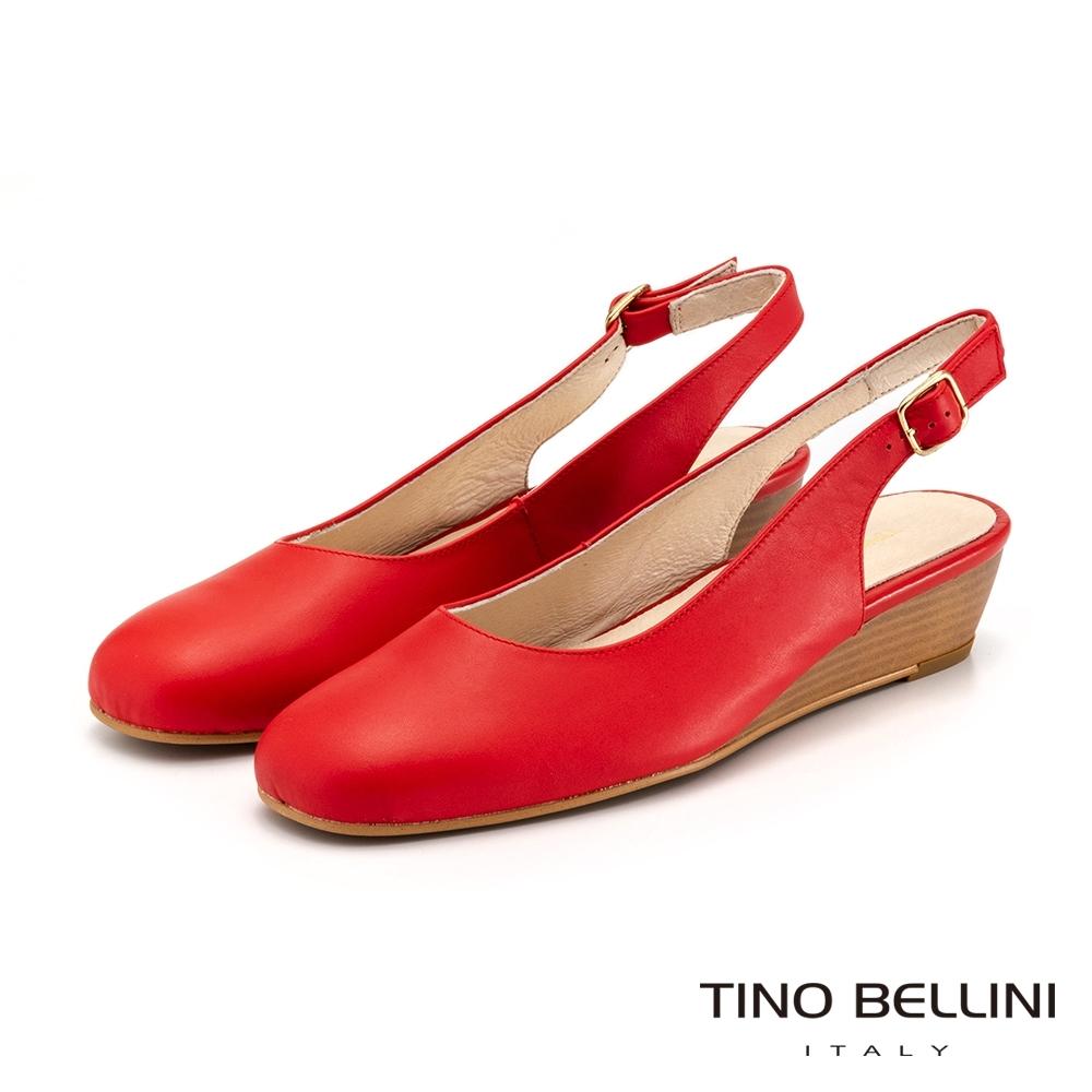 Tino Bellini西班牙進口復古小方頭後拉帶楔型鞋_紅