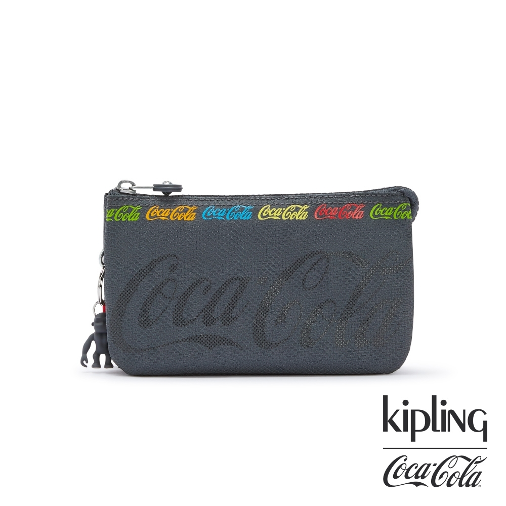 Kipling | Coca-Cola 聯名款創意LOGO印花三夾層配件包-CREATIVITY L