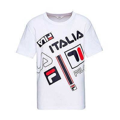 FILA 男款吸濕排汗圓領T恤-白色 1TET-1441-WT